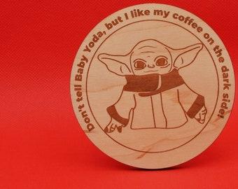 Baby Yoda - Coaster - Laser Cut | Star Wars Yoda | Grogu | The Mandalorian | Star Wars Baby | Alien Species | Yoda Cuteness | Cuddle Yoda