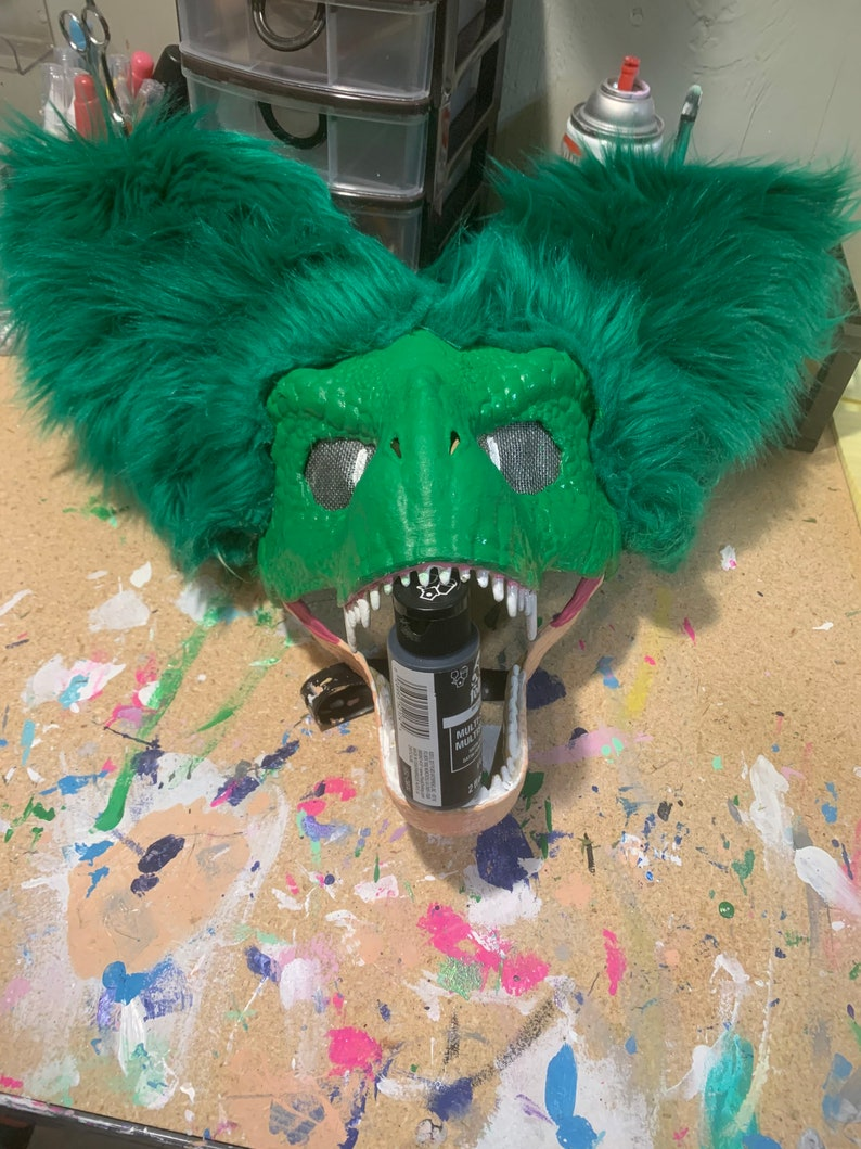 Hand painted TRex mask with ears