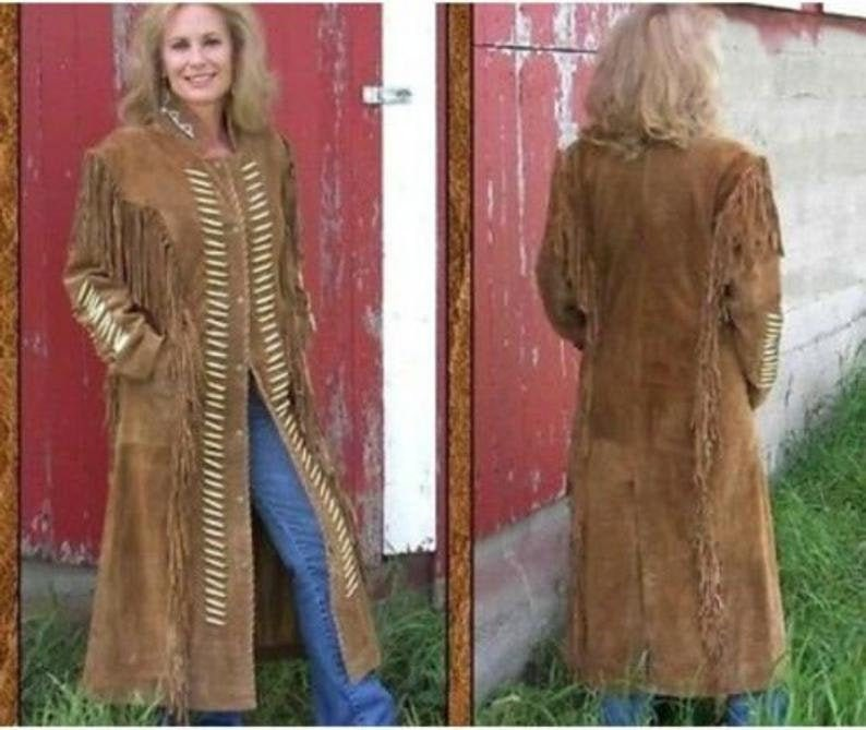Handmade Women Western Wear Suede Leather Long Duster Coat Fringes and bones