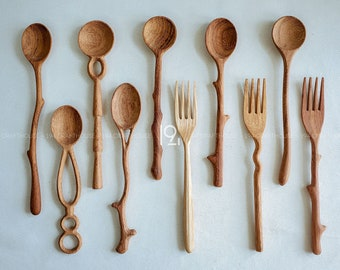Wooden Spoon and Fork Decor Set Christmas Gift, Hand Carved Spoon For Eating, Measuring Condiment Spoon, Pasta Salad Fork, Farmhouse Kitchen