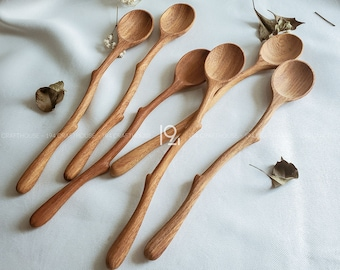Long Handle Wooden Coffee Spoon, Hand Carved Teaspoon Branch Handle, Eco Kitchen Stirring Mixing Spoon Tableware, Gift for Tea Coffee Lovers
