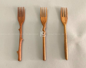 Handmade Wooden Spoon and Fork For Eating, Wooden Pasta Fork Gift For Daughter, Eco Friendly Kitchenware Cooking Utensil, Rustic Table Decor