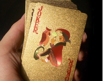 24K Gold Foil Luxury Playing Cards, Waterproof Poker Cards for Professional Card Players and Family Games