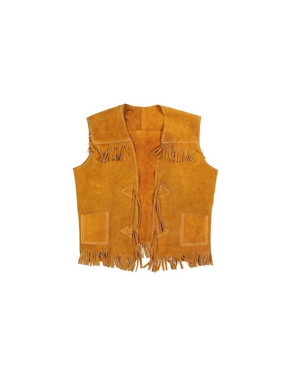 Vintage suede leather fringe vest 1970s / 1980s