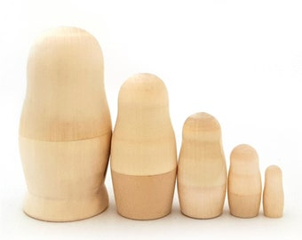 """Blank Russian Dolls 4.3"""" 11cm 5 Pieces Set Wooden Nesting Dolls Unpainted Matryoshka Dolls, Stacking Dolls, Paint Your Own Russian Dolls"""