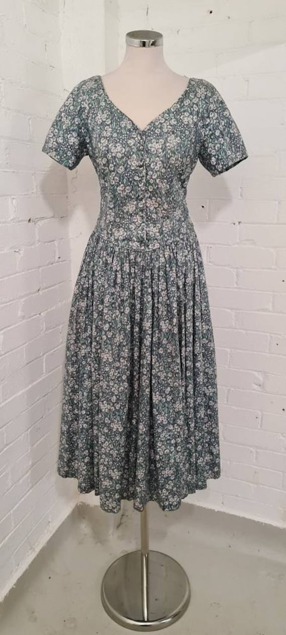 Laura Ashley 1980s blue ditsy floral prairie dress