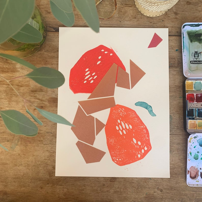 Abstract art piece Collage and block-printing