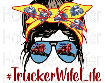 Vintage Trucker Retro Style Funny Trucker/'s Wife Transparent Background PNG