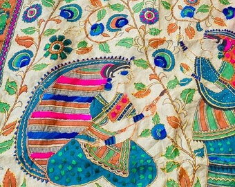 Floral Boho Creeper Madhubani Duppata