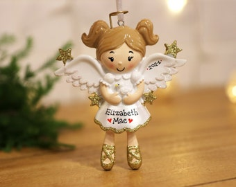 Angel Girl Personalized Christmas Ornament, Girl Ornament, Christmas Angel Ornament, Little Girl Ornament, Personalized Toddler Ornament.