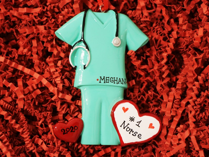 Nurse Ornament Ornament with Name. Green Scrubs Christmas Ornament Best Nurse Doctor Ornament Personalized Christmas Ornaments