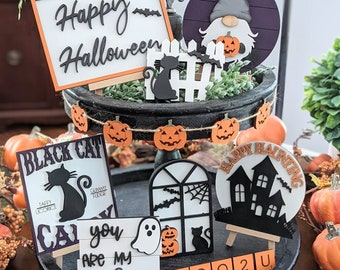 Halloween Tiered Tray Decor- 3D Mini Wood Signs- Featuring Black Cats- Jack o Lanterns- Bats- Boo Tiles- Ghosts- Gnome- Big Tiered Tray Set
