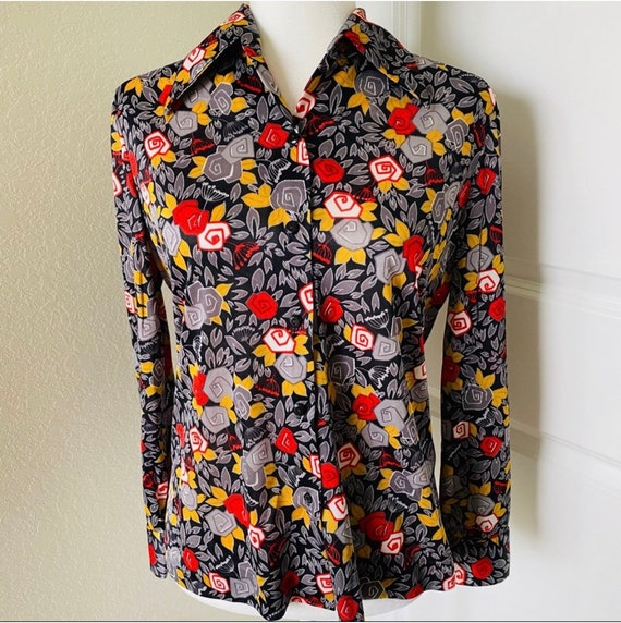 Alex Coleman Abstract Floral Print Blouse