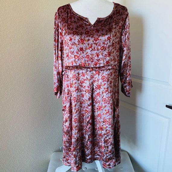 Vintage April Cornell velour floral dress