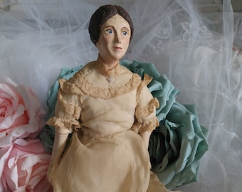 Antique doll fad with wire rod boudoir doll marotte with ball gown beads zuberish long johns ceramic hands face and legs