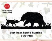 hound hunting scene Svg, Best bear hound hunting Svg, Hunting Svg , Bear hunting svg , SVG for Hunter ,Gift for hunter ,Best hound svg file