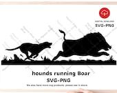 hounds running boar SVG , Hound wild boar hunting Svg Png file, svg for hunter.