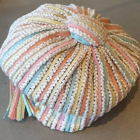 CHRISTIAN DIOR Vintage Hat. Pastel coloured Beret
