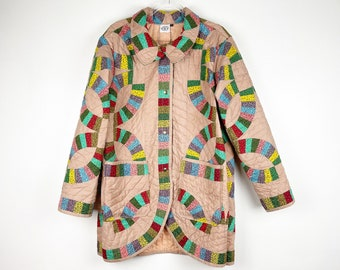 Quilt Chore Coat / Vintage Patchwork Quilt Jacket / Jacket made from old quilt / Double Wedding Ring / XL / Oscilatey