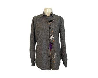 Halloween Vintage Victoria Jones Button Up Top M
