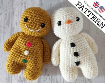 Gingerbread Man and Snowman Crochet Pattern   A No Sew Project   Beginner friendly pattern   Perfect stocking filler or Christmas gift