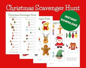 Christmas Scavenger Hunt, Printable, Instant Download, Outdoor & Indoor, Kid Game, Family Activity