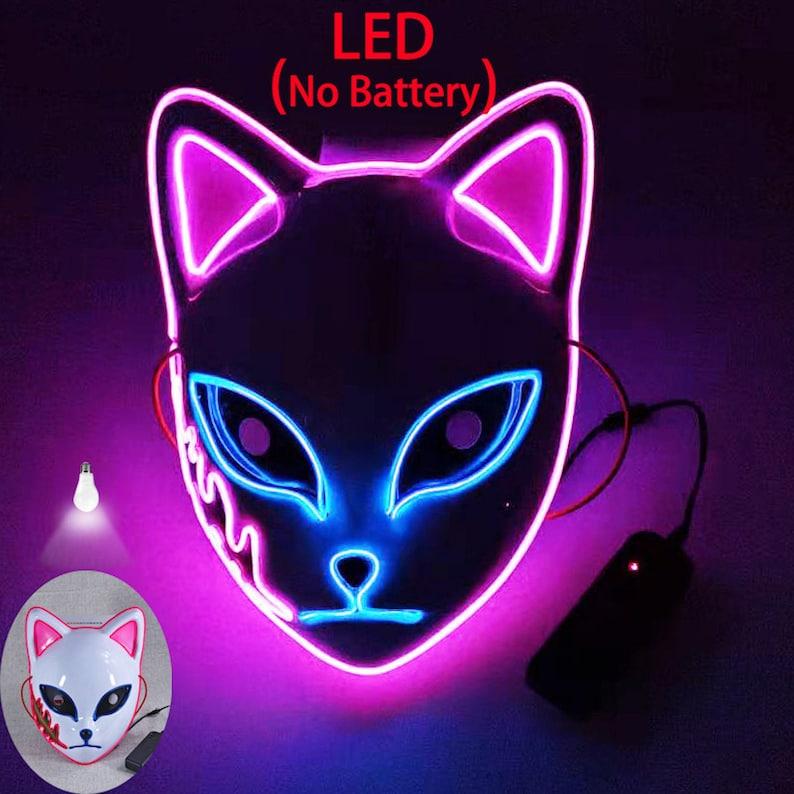 LED Lighted Cat Face Mask /Anime Cosplay Kitsune Mask/EL image 0