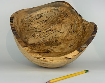 Large Live Edge Spalted Wood Bowl