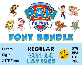Paw Font SVG Layered, Font for Cricut