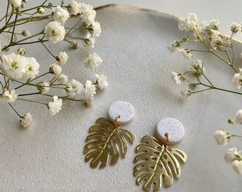 MONSTERA Earrings / Polymer Clay Earrings / Gold Earrings / Dainty Earrings / Plant Earrings / Unique Gift / Girlfriend Gift