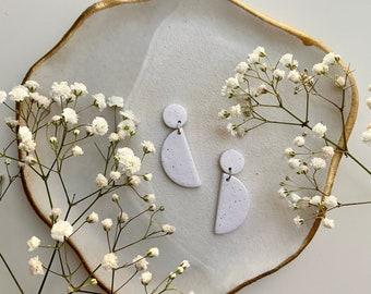 AUBREY White Earrings / Polymer Clay / Modern Earrings / Minimal Earrings / Semicircle Half Moon Earrings / Unique Gift / Girlfriend Gift