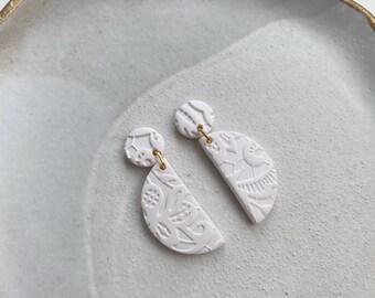 AUBREY Floral Lace Earrings / Modern Earrings / Semicircle Half Moon Earrings / Unique Gift / Girlfriend Gift