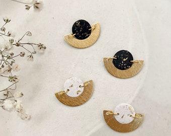 SOLAR Stud Earrings / Polymer Clay Earrings / Modern & Minimal Earrings / Gold Earrings / Unique Gift / Girlfriend Gift / Bridesmaid Gift