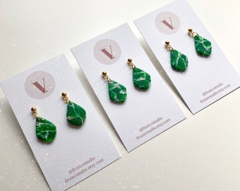 JULIET Teardrop Earrings / Emerald Green Earrings / Marble Earrings / Minimal Earrings / Unique Gift / Girlfriend Gift / Bridesmaid Gift