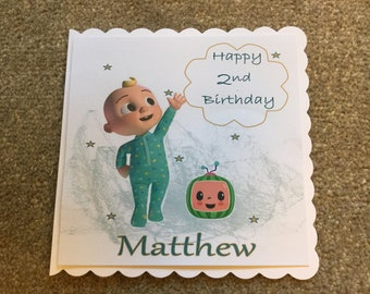 Handmade Personalised Cocomelon Birthday Card for 1/2/3/4/5/6/7 years