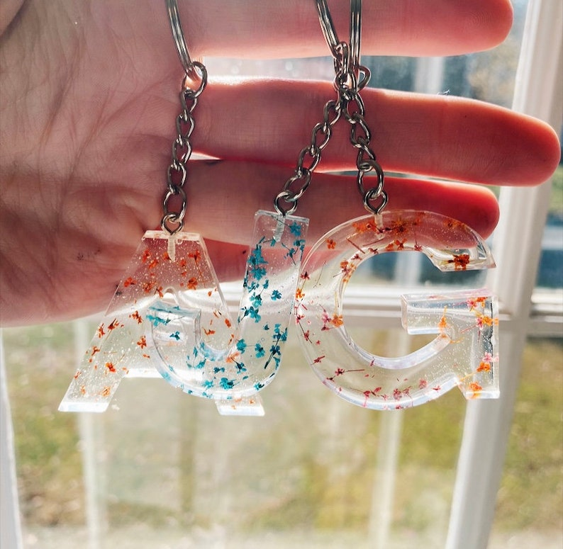Initial Resin Keychain with Small Flowers
