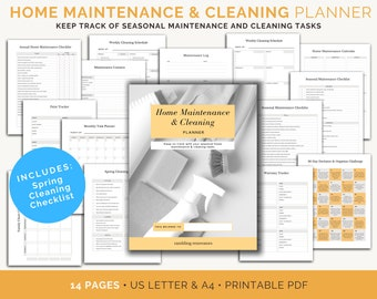 Home Maintenance Checklist, Home Maintenance Binder, Home Management Binder, Home Management Printables, Cleaning Schedule, Maintenance List
