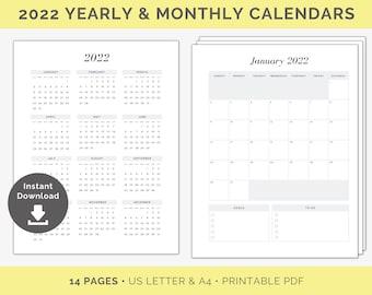 2022 Calendar Printable | 2022 Yearly Calendar,  2022 Monthly Calendars , 2022 Year at a Glance, Minimal Calendar, One Page Calendar