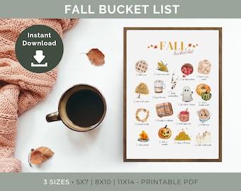 Fall Bucket List Printable | Autumn Bucket List, Fall Checklist, Fall To Do List, Fall Printable, Fall Decor, Fall Art, Printable Wall Art