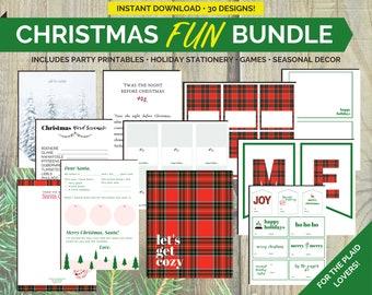 Christmas Printables, Christmas Cards, Christmas Prints, Christmas Party Decor | All-in-one Christmas FUN Bundle