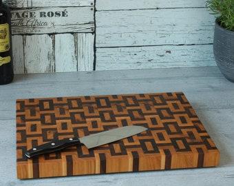 Wood cutting board Cutting board End grain made of American walnut and cherry tree