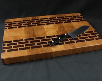 Wood cutting board cutting board end grain of oak and mahogany, planche découper, cutting board, tabla de corte, tagliere legno