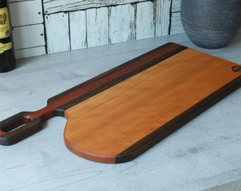 Charcuterie board, serving board in cherry tree, jatoba and mutenye