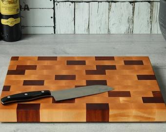 Wood cutting board Cutting board end grain of maple and sapele, planche à découper, cutting board, tabla de corte, tagliere legno