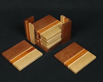Set of 6 handmade wooden coasters