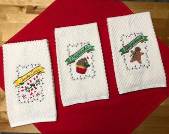 Embroidered Mistletoe Cook Red Holiday Kitchen Tea Towel