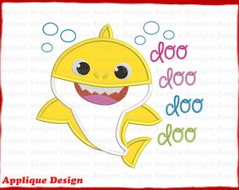 INSTANT DOWNLOAD Mommy Shark Head Applique Embroidery Design With Alphabet K