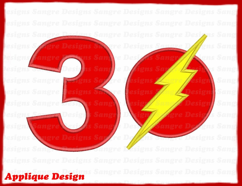 INSTANT DOWNLOAD The Flash Birthday Number 3 Applique Design
