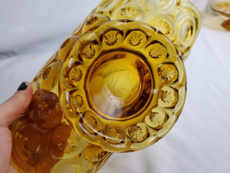 LE Smith Glass Moon and Star Banana Stand bowl Amber Vintage Footed 1940\u2019s B-247