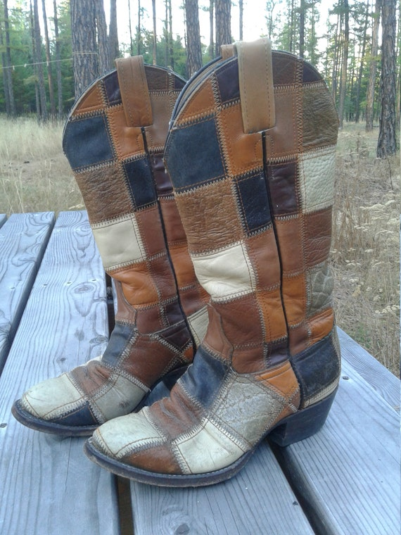 1970s Vintage Laramie Patchwork Boot